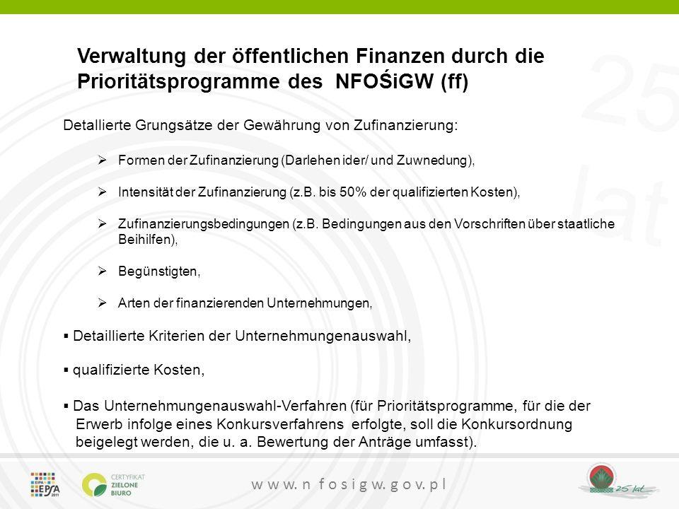 Verwaltung der öffentlichen Finanzen durch die Prioritätsprogramme des NFOŚiGW (ff)