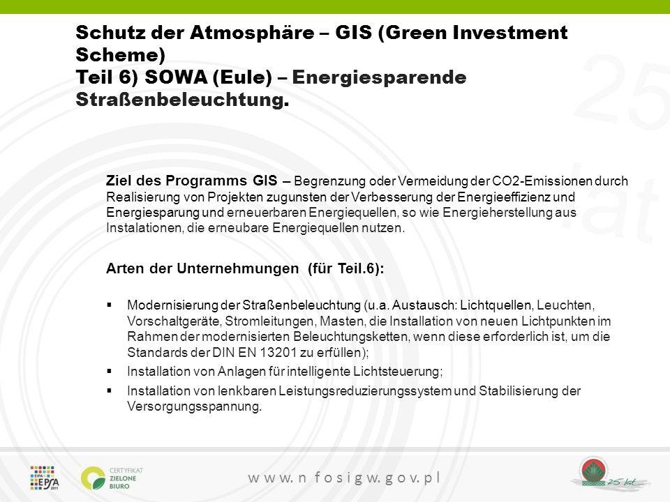 Schutz der Atmosphäre – GIS (Green Investment Scheme)