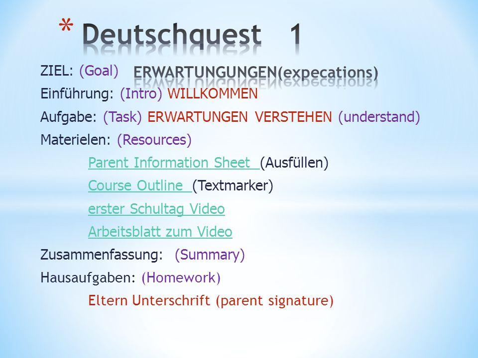 Deutschquest 1 ERWARTUNGUNGEN(expecations)