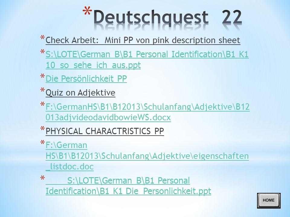 Deutschquest 22 Check Arbeit: Mini PP von pink description sheet