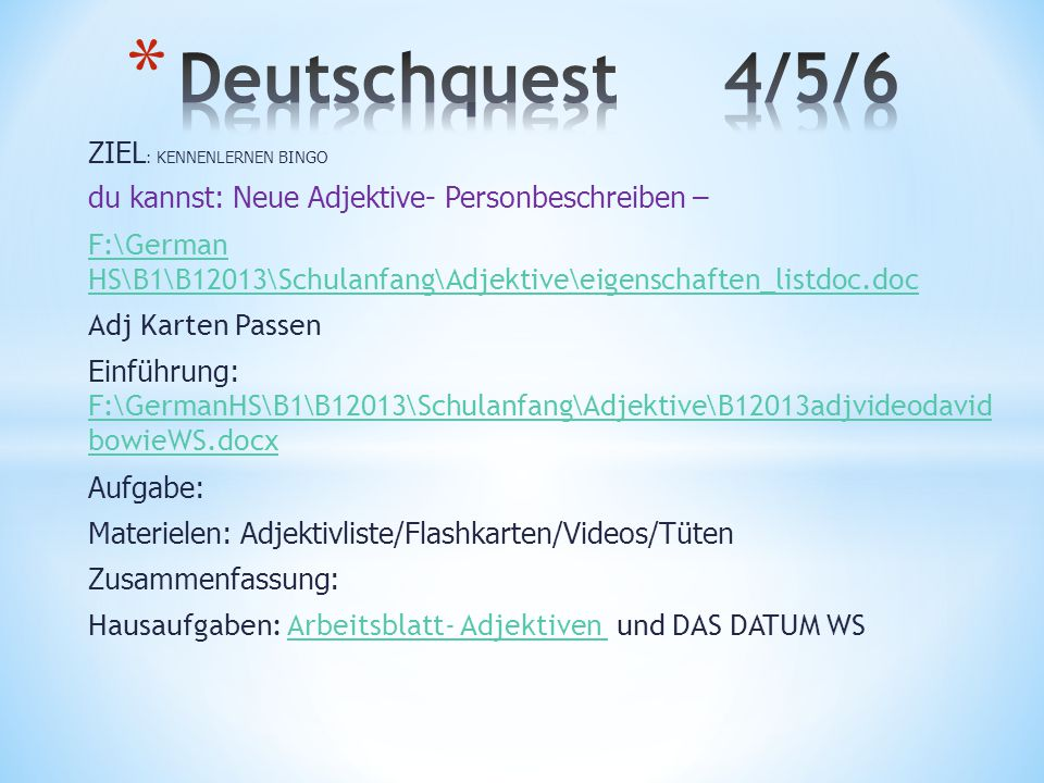 Deutschquest 4/5/6 ZIEL: KENNENLERNEN BINGO
