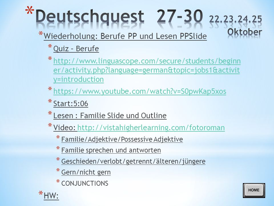 Deutschquest 27-30 22.23.24.25 Oktober