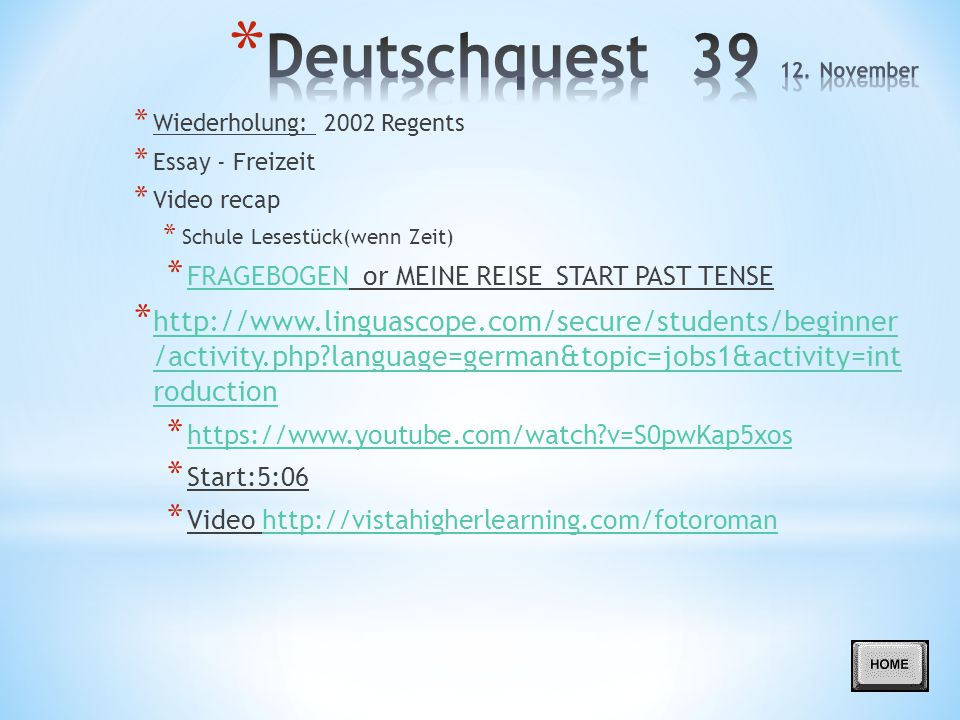 Deutschquest 39 12. November