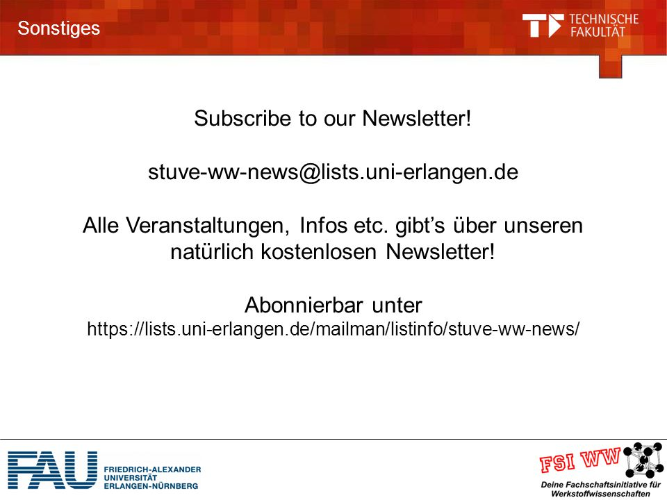 Subscribe to our Newsletter! stuve-ww-news@lists.uni-erlangen.de
