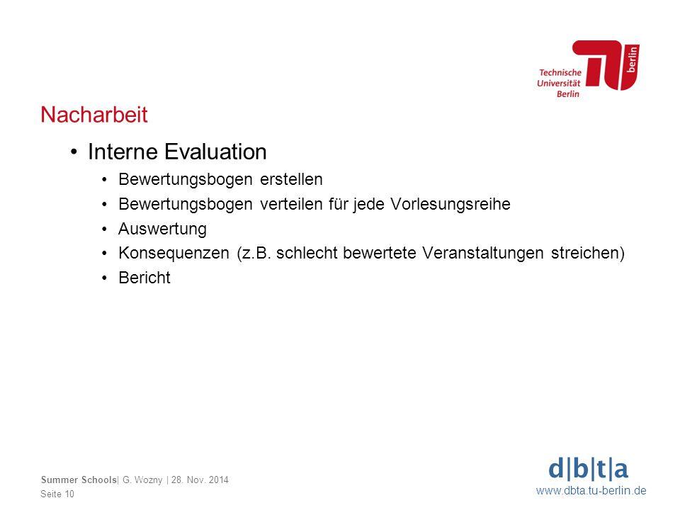 Nacharbeit Interne Evaluation Bewertungsbogen erstellen