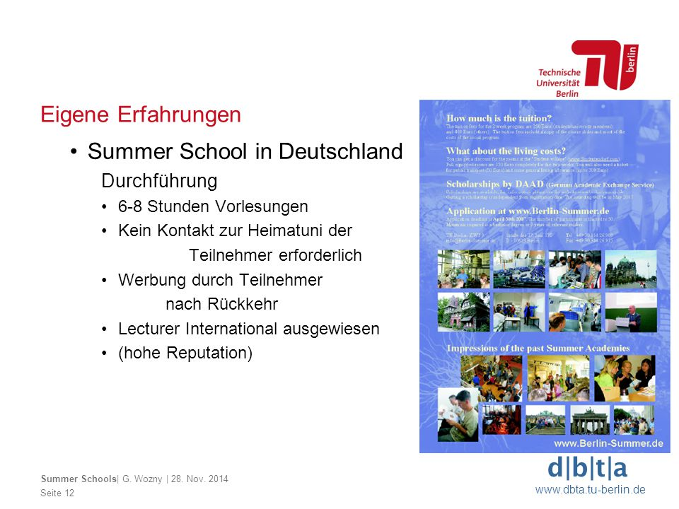 Summer School in Deutschland