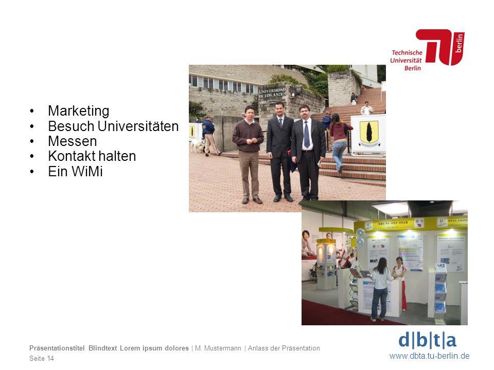 Marketing Besuch Universitäten Messen Kontakt halten Ein WiMi