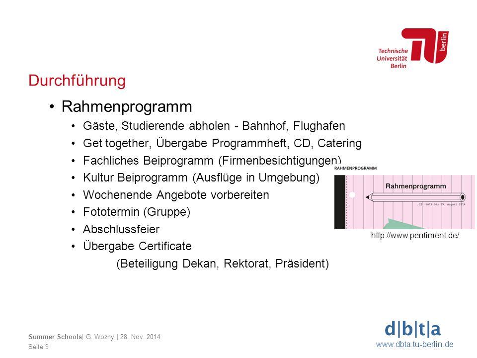 Durchführung Rahmenprogramm