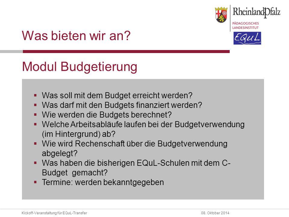 Was bieten wir an Modul Budgetierung