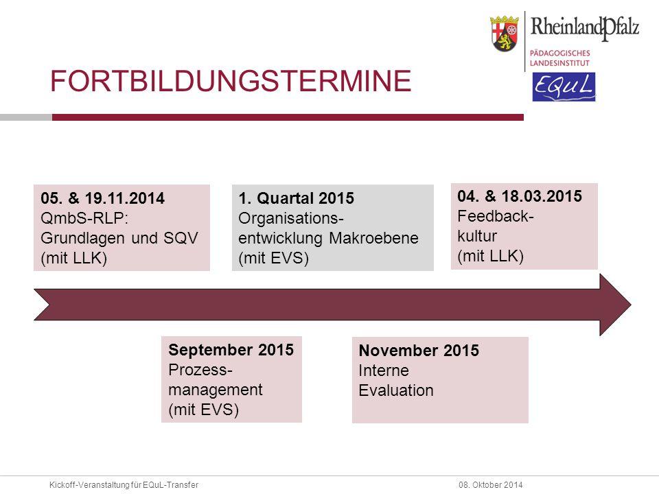 FORTBILDUNGSTERMINE 05. & 19.11.2014