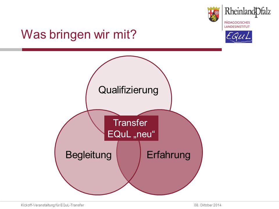 Was bringen wir mit Qualifizierung Erfahrung Begleitung Transfer