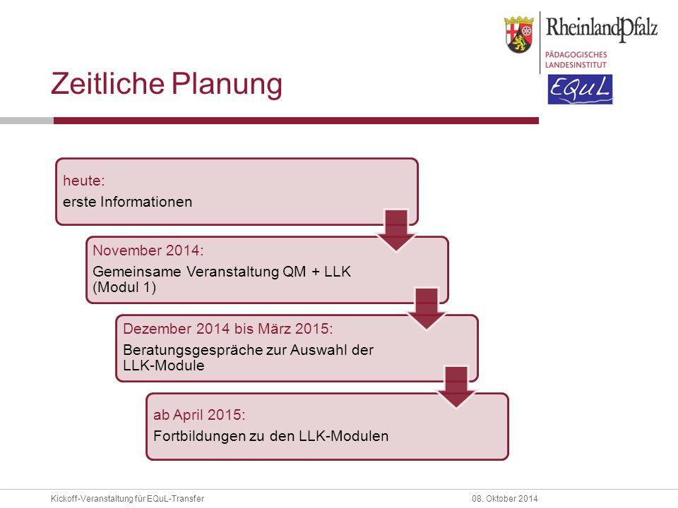 Zeitliche Planung heute: erste Informationen November 2014: