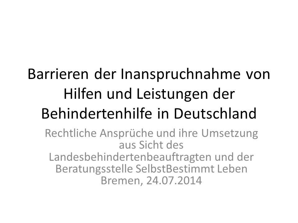 Barrieren der Inanspruchnahme von Hilfen und Leistungen der Behindertenhilfe in Deutschland