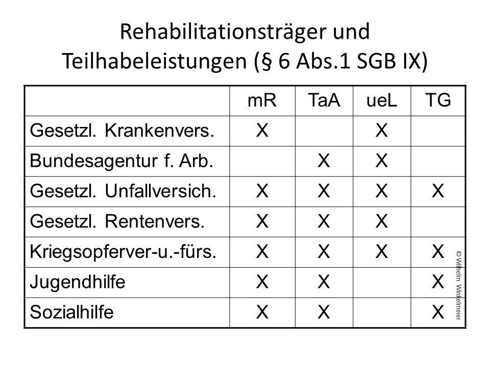 Rehabilitationsträger und Teilhabeleistungen (§ 6 Abs.1 SGB IX)