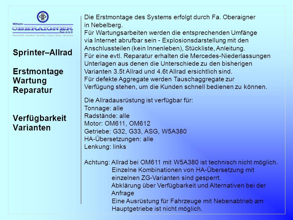 Sprinter–Allrad Erstmontage Wartung Reparatur Verfügbarkeit Varianten