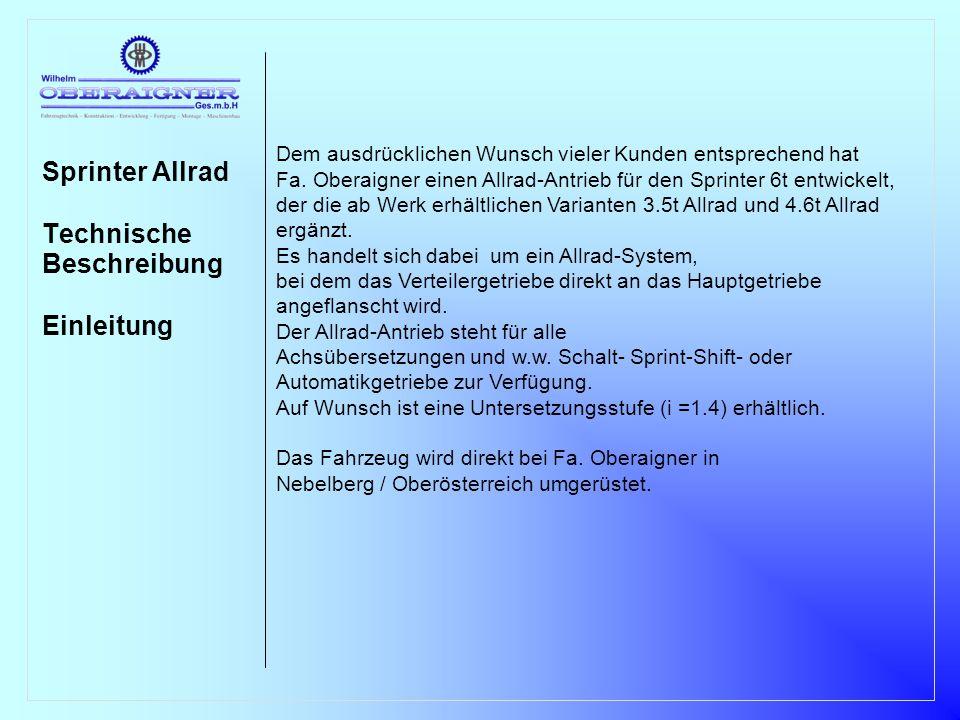 Sprinter Allrad Technische Beschreibung Einleitung