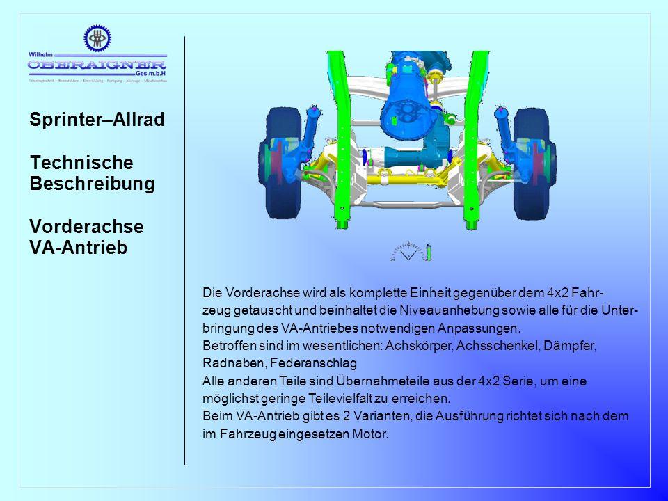 Sprinter–Allrad Technische Beschreibung Vorderachse VA-Antrieb