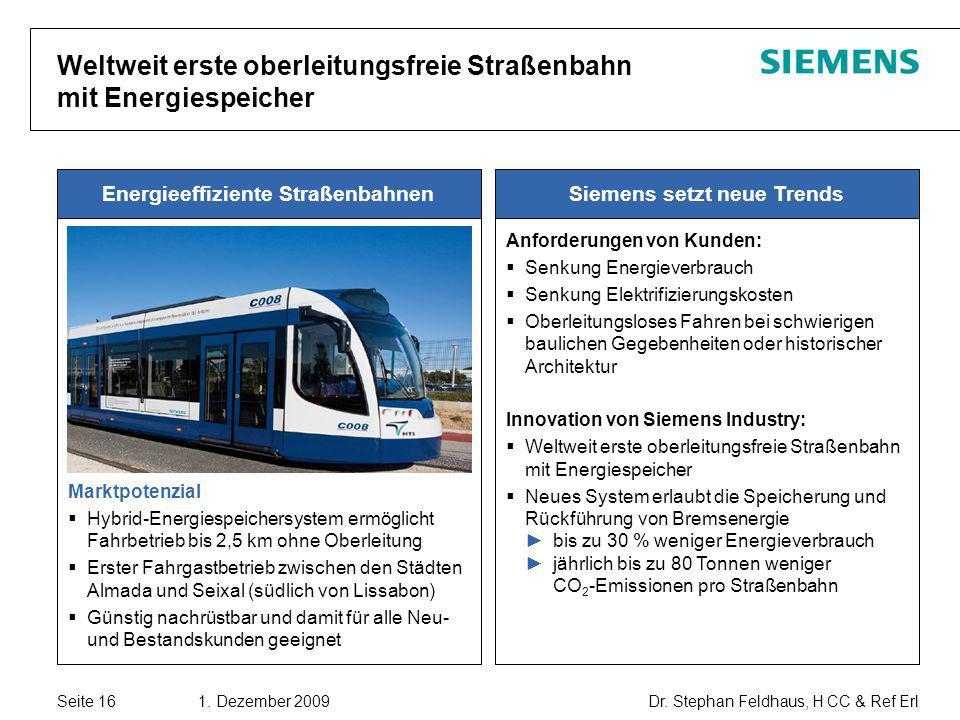Weltweit erste oberleitungsfreie Straßenbahn mit Energiespeicher