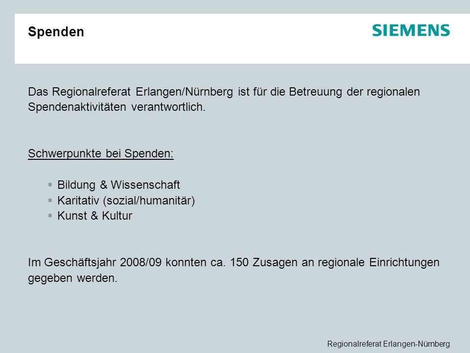 Spenden Das Regionalreferat Erlangen/Nürnberg ist für die Betreuung der regionalen Spendenaktivitäten verantwortlich.