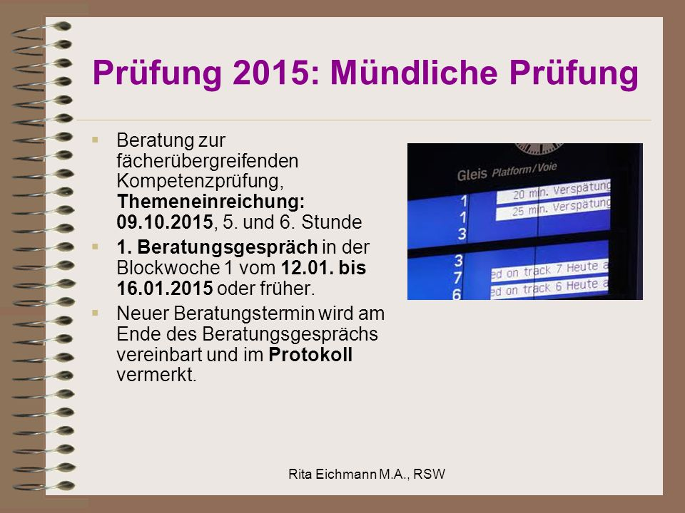 Prüfung 2015: Mündliche Prüfung
