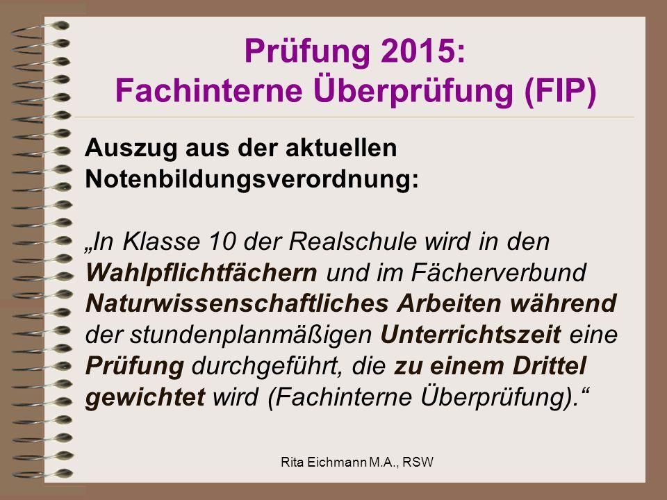 Prüfung 2015: Fachinterne Überprüfung (FIP)