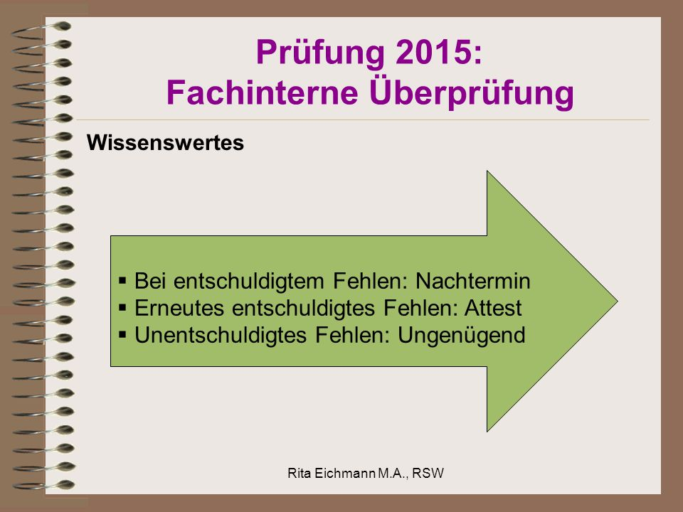 Prüfung 2015: Fachinterne Überprüfung