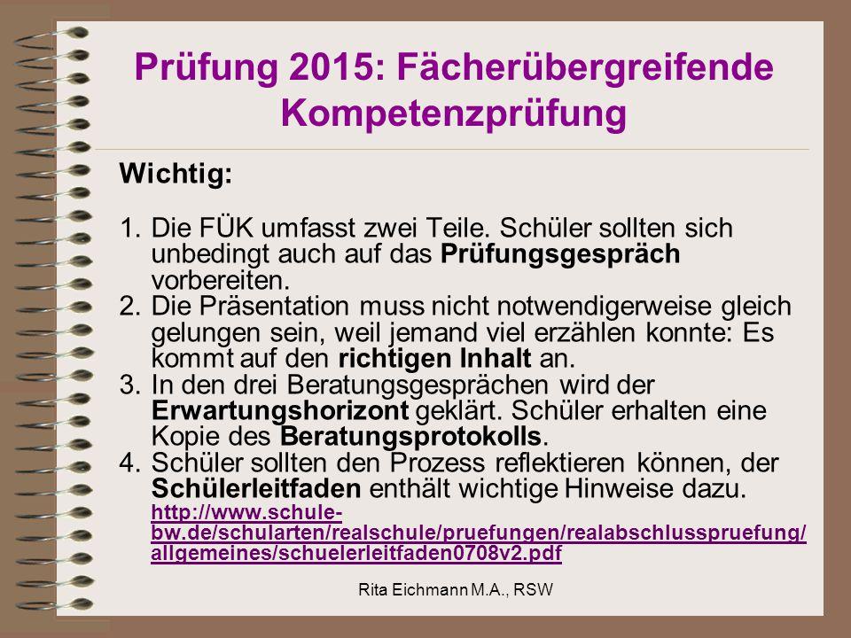 Prüfung 2015: Fächerübergreifende Kompetenzprüfung