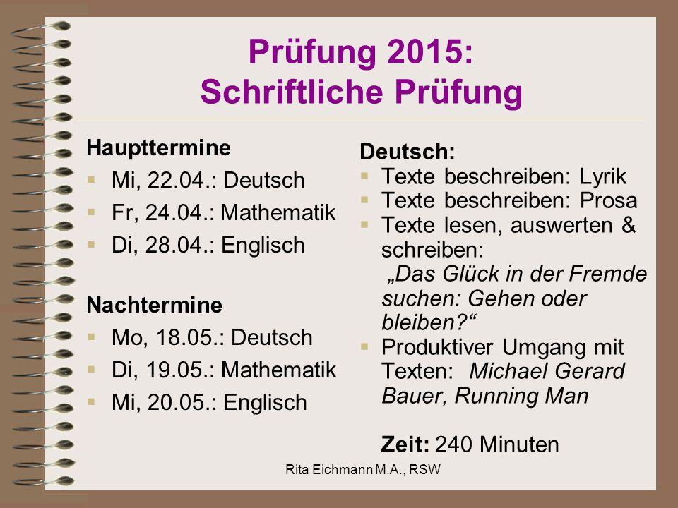 Prüfung 2015: Schriftliche Prüfung