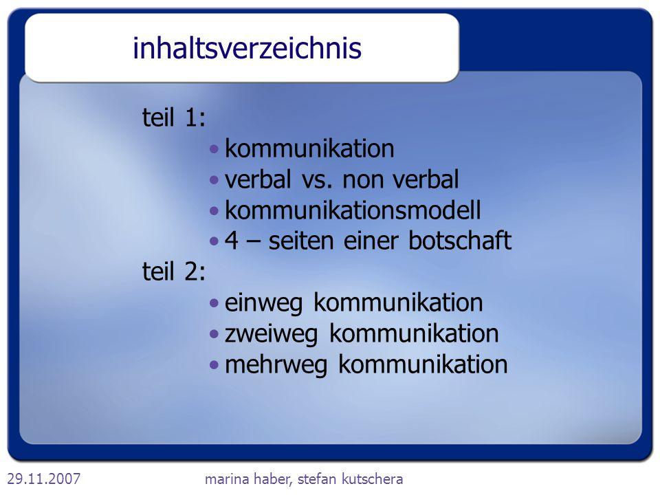 inhaltsverzeichnis teil 1: kommunikation verbal vs. non verbal