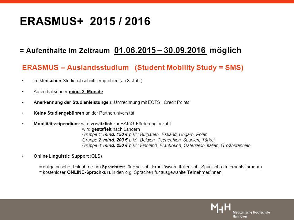 ERASMUS+ 2015 / 2016 = Aufenthalte im Zeitraum 01. 06. 2015 – 30. 09
