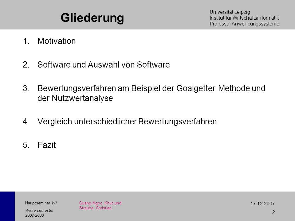 Gliederung Motivation Software und Auswahl von Software