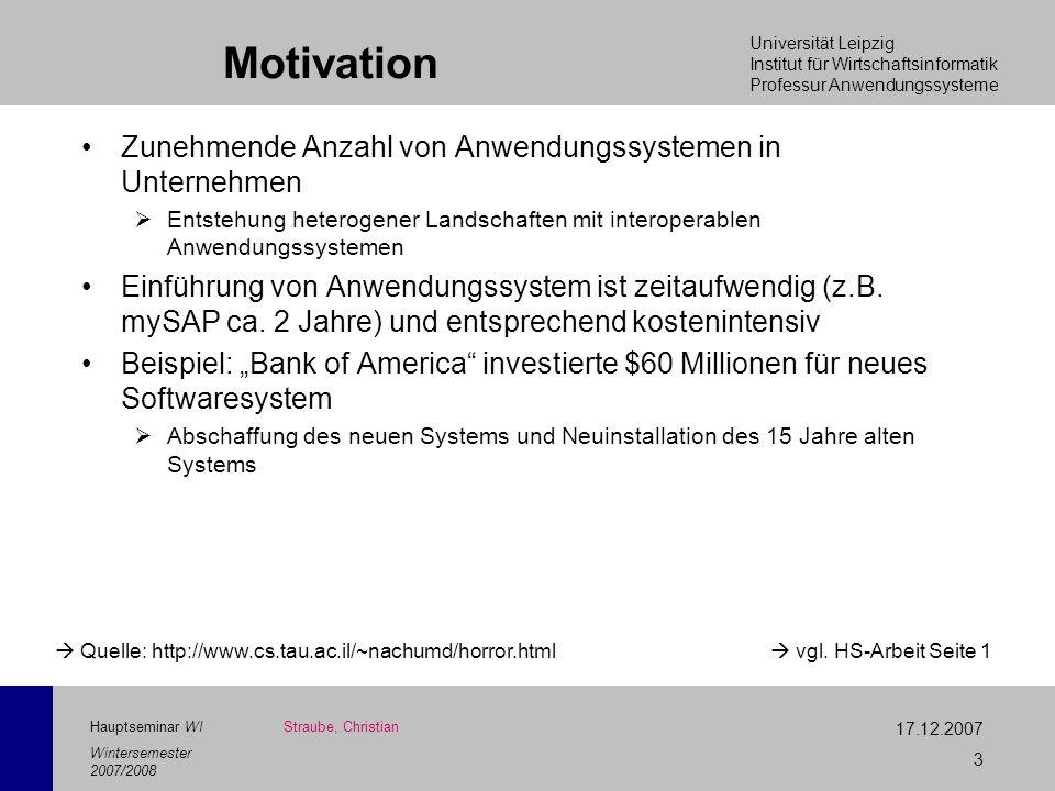 Motivation Zunehmende Anzahl von Anwendungssystemen in Unternehmen