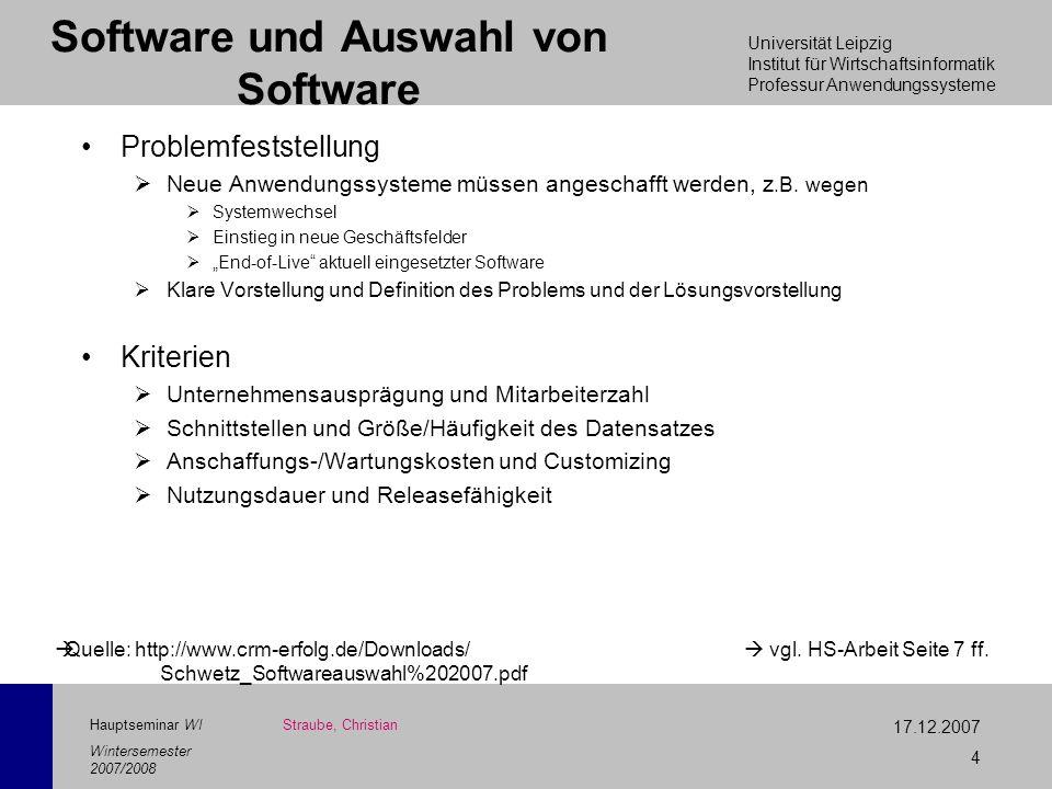 Software und Auswahl von Software