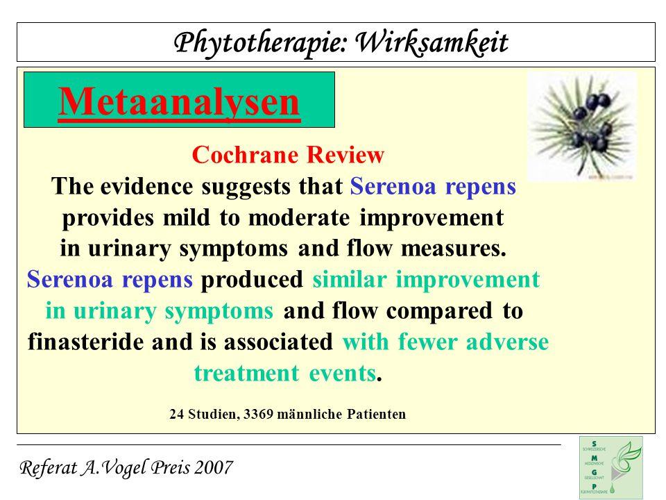 Metaanalysen Phytotherapie: Wirksamkeit Cochrane Review