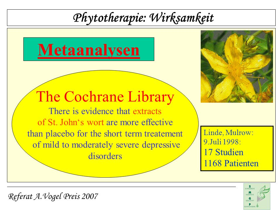 Metaanalysen The Cochrane Library Phytotherapie: Wirksamkeit