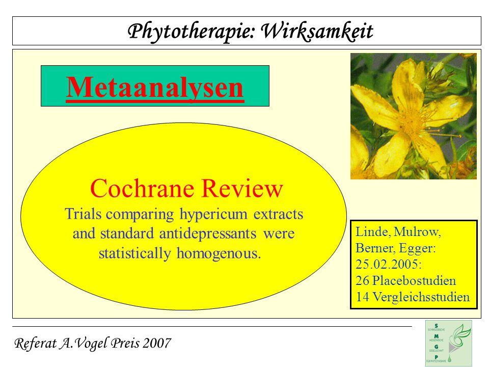 Metaanalysen Cochrane Review Phytotherapie: Wirksamkeit