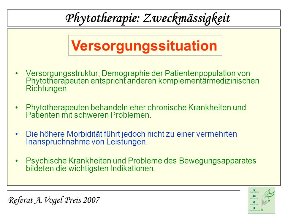 Phytotherapie: Zweckmässigkeit