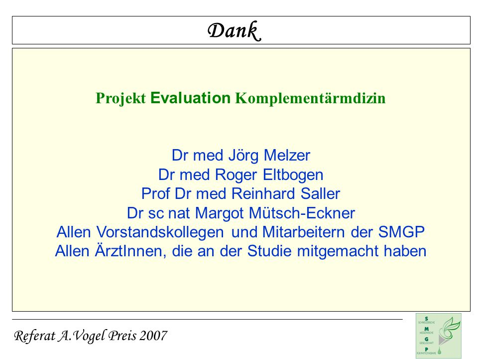 Projekt Evaluation Komplementärmdizin
