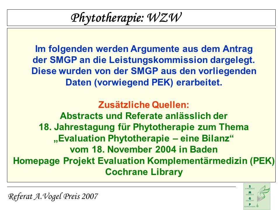 Phytotherapie: WZW Im folgenden werden Argumente aus dem Antrag
