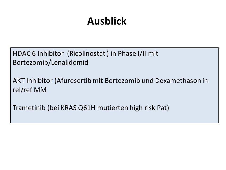 Ausblick HDAC 6 Inhibitor (Ricolinostat ) in Phase I/II mit Bortezomib/Lenalidomid.