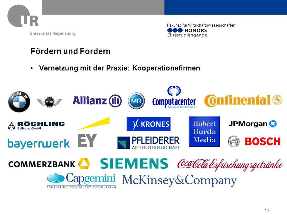 Fördern und Fordern Vernetzung mit der Praxis: Kooperationsfirmen