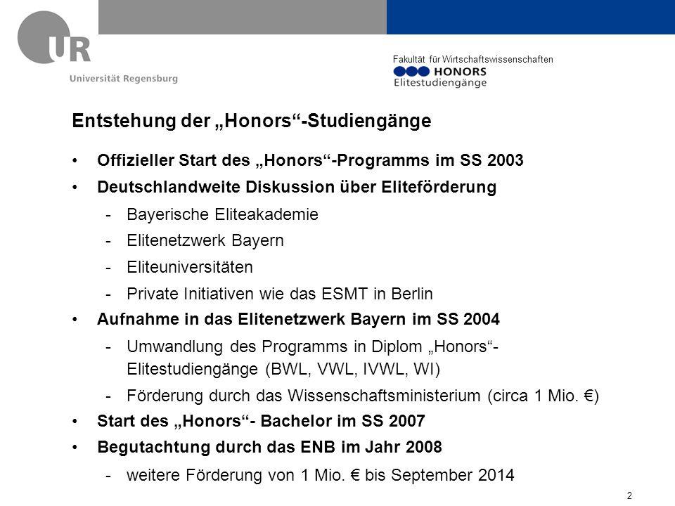 """Entstehung der """"Honors -Studiengänge"""
