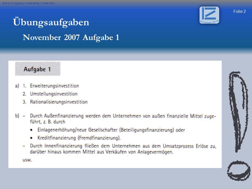 Übungsaufgaben November 2007 Aufgabe 1