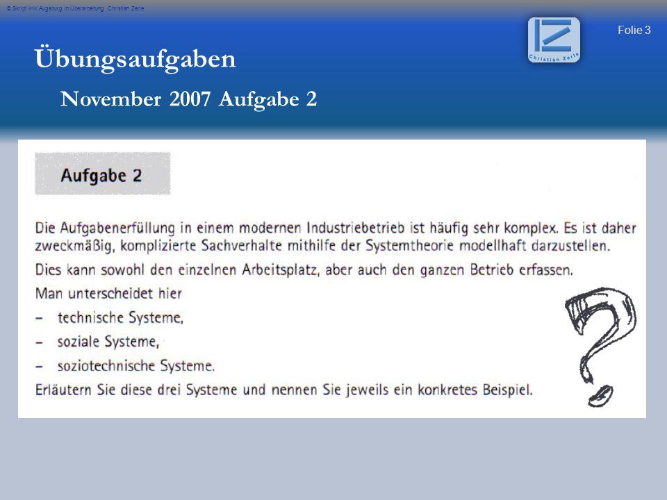 Übungsaufgaben November 2007 Aufgabe 2