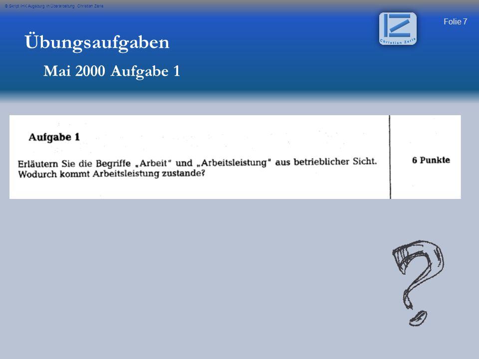 Übungsaufgaben Mai 2000 Aufgabe 1