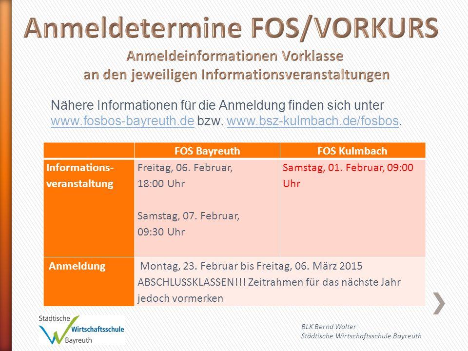 Anmeldetermine FOS/VORKURS
