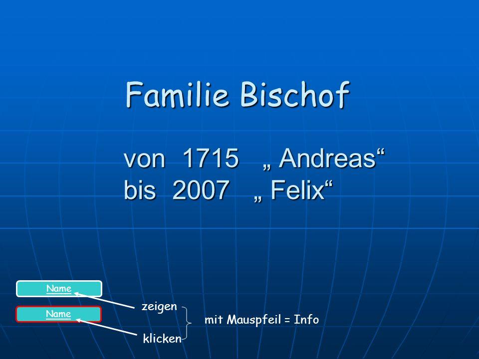 """von 1715 """" Andreas bis 2007 """" Felix"""
