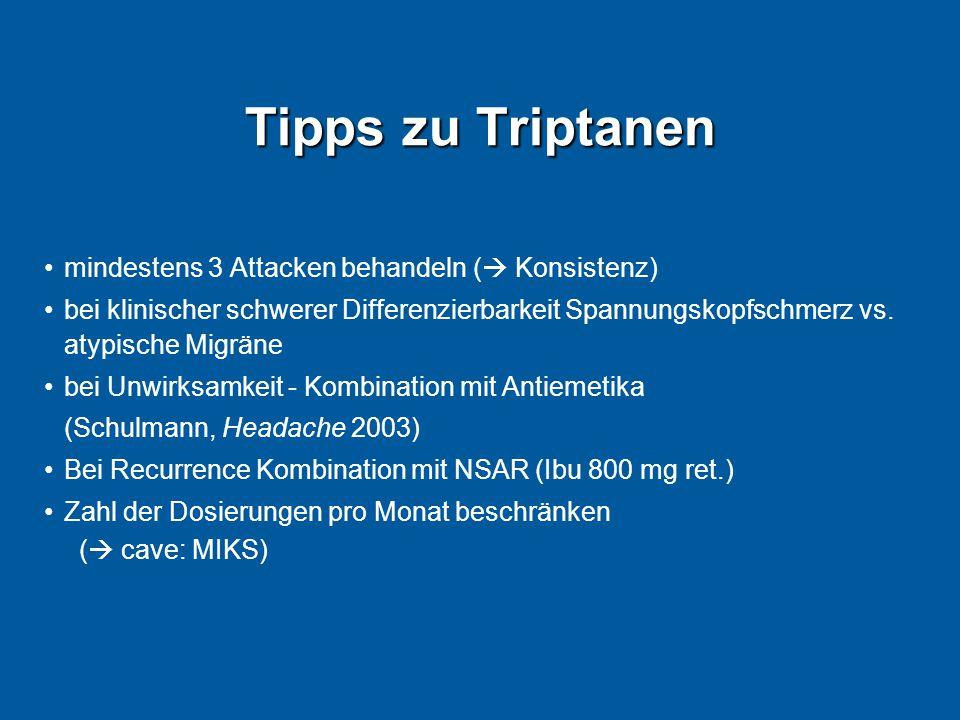 Tipps zu Triptanen mindestens 3 Attacken behandeln ( Konsistenz)