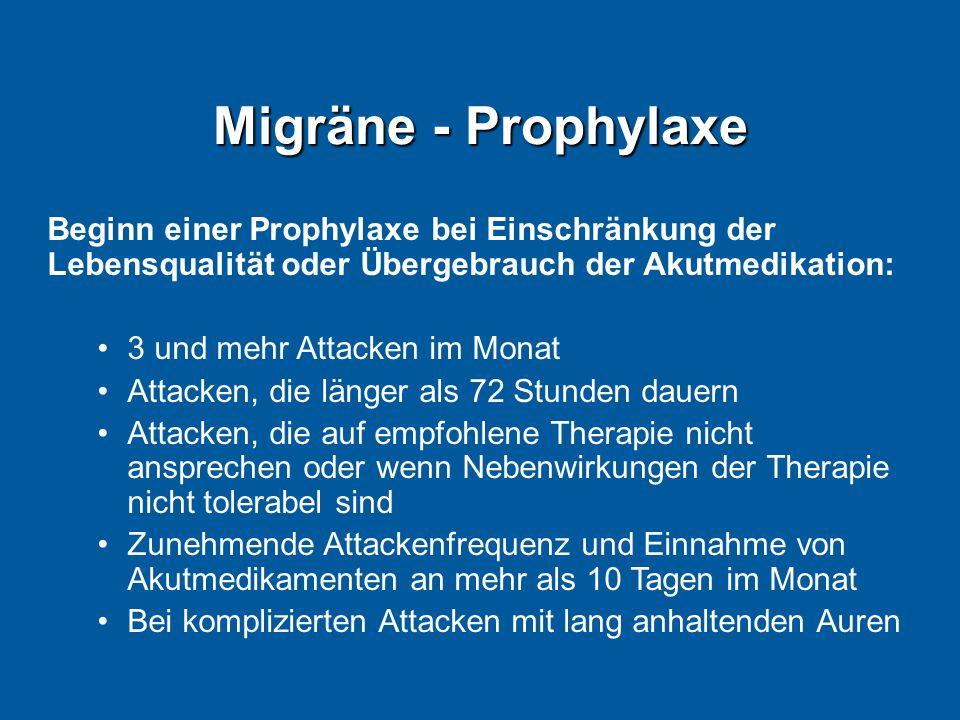 Migräne - Prophylaxe Beginn einer Prophylaxe bei Einschränkung der Lebensqualität oder Übergebrauch der Akutmedikation: