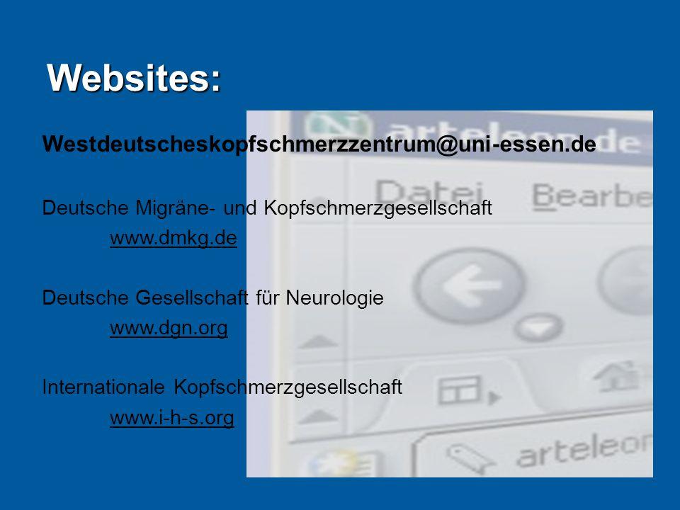 Websites: Westdeutscheskopfschmerzzentrum@uni-essen.de